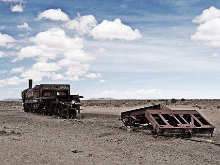 The Salar De Uyuni, Cemetery Of Trains, Bolivia, Uyuni