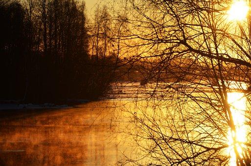 Skellefteå, River, Morning, Water, Mist, Atmosphere