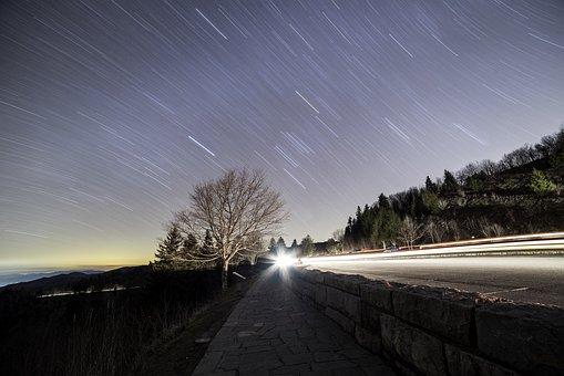 Star Trails, Astrophotography, Night, Sky, Stars