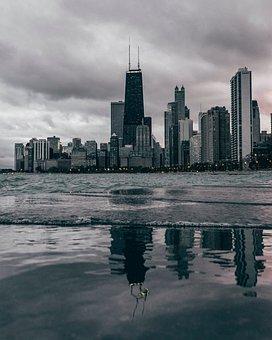Chicago, Beach, Water, Skyline, Cityscape, Metropolis