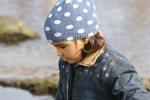 Children, Girl, Alone, Beanie