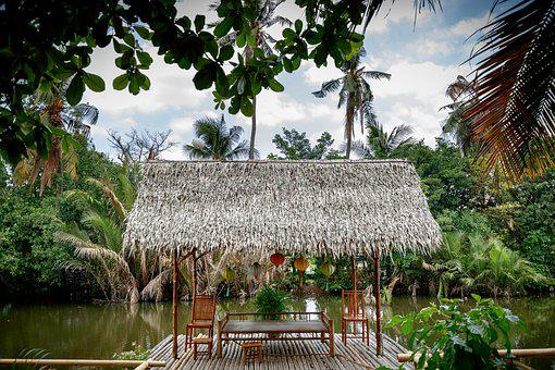 Thatched Roof, Cabanas, Lake, Bamboo