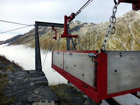 Material Lift, High Mountains, Fog, Graubünden, Greina