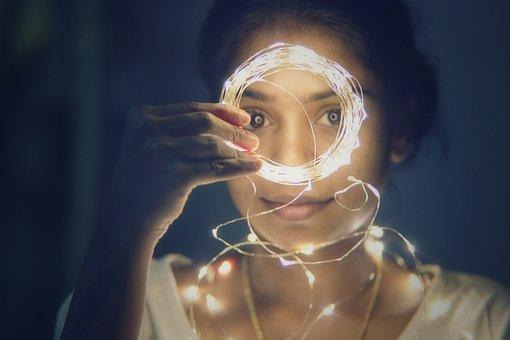 Lights, Girl, Portrait, Bokeh, Natural, Female, Model