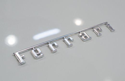 Ferrari, Emblem, Sportscar, Lettering, Shiny, White