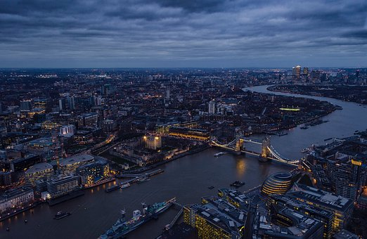 London, Thames River, Tower Bridge, Gherkin, Night
