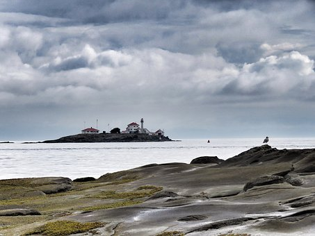 Gabriola Island Lighthouse, Cloudy Sky, Rocks