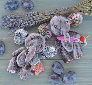 Soft Toy, Elephant, Lavender, Plum, Their Hands