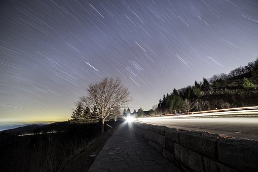 Star Trails, Astrophotography, Night, Sky, Stars