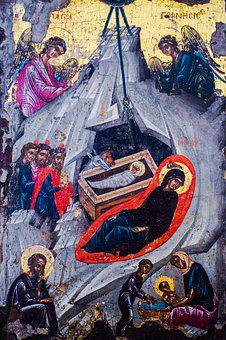 Nativity Of Christ, Icon, Wooden, 18th Century, Cyprus
