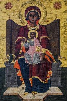 Virgin Mary, Christ, Icon, Wooden, 18th Century, Cyprus