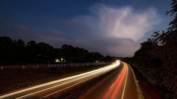 Highway, At Night, Long Exposure, Traffic, Lights