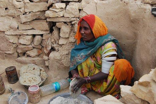 India, Cooking, Desert, Chapatti, Breadmaking, Dry