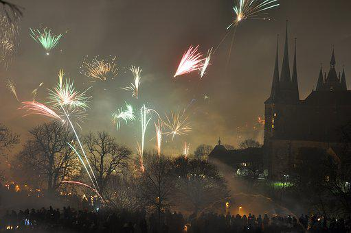 Fireworks, New Year's Eve, Erfurt, Dom, Toompea, Church