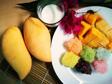 Mango, Fruit, Sticky Rice, Coconut Milk, Sweet, Eat