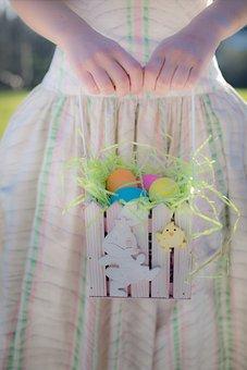 Easter, Easter Eggs, Woman Holding Easter Basket