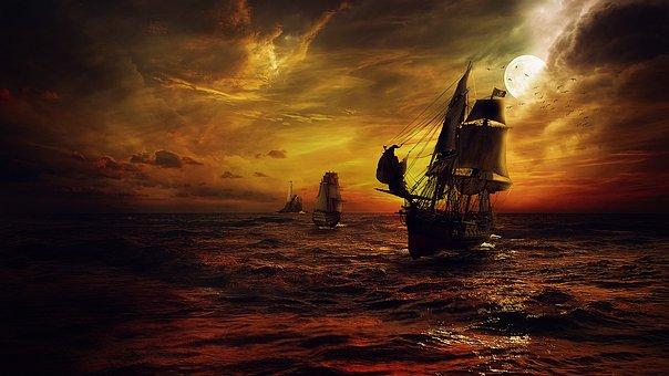 Ship, Strom, Sea, Night, Fantasy, Red, Pirates, Moon