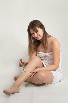 Girl, Wrapped, In A Towel, Shaves, Legs, Machine