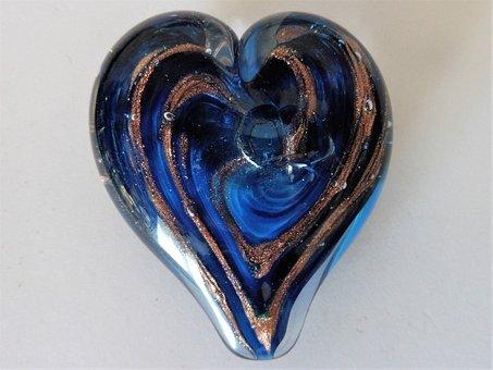 Blue Glass Heart, Glass, Heart, Romantic