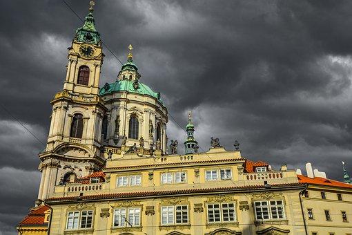 Prague, Czech, Storm, Skies, Gothic, Bohemia, Dome