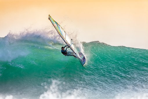 Windsurfing, Big Waves, At Dusk, Backlight, Spray