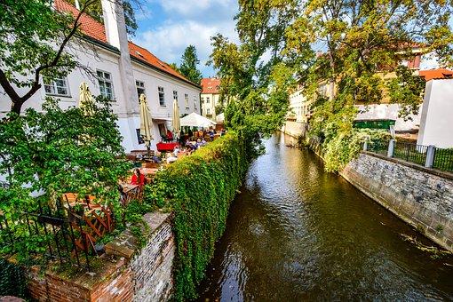 Cafe, Prague, Czech, Canal, River, Trees, Outdoor