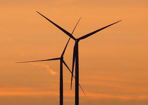 Windräder, Sunset, Wind Energy, Wind Power, Evening Sky
