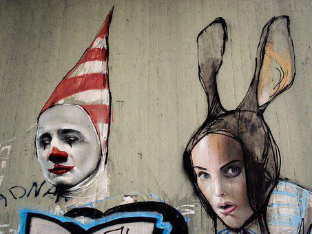 Graffiti, Clown, Hare, Man, Woman, Face, Faces, Figures