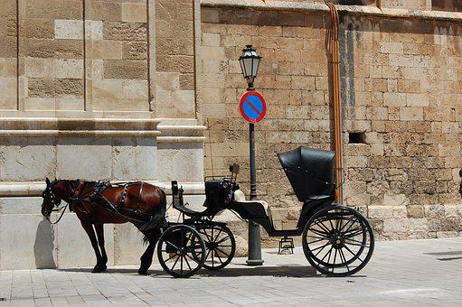 Coach, Horse, Horse Drawn Carriage, Lantern, No Parking