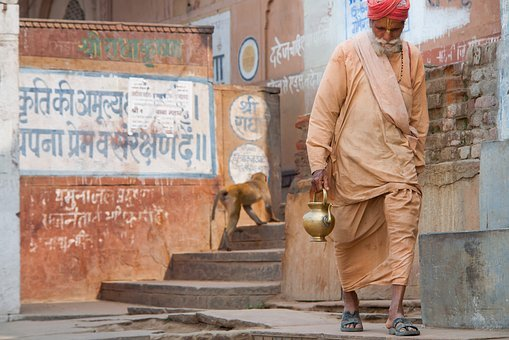 India, Incarnation, Travel, Vrindavan, Monkey, Man