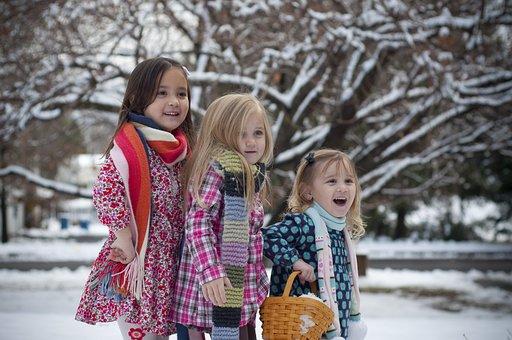 Sisters, Winter, Snow, Trees, Holiday, Christmas, Kid
