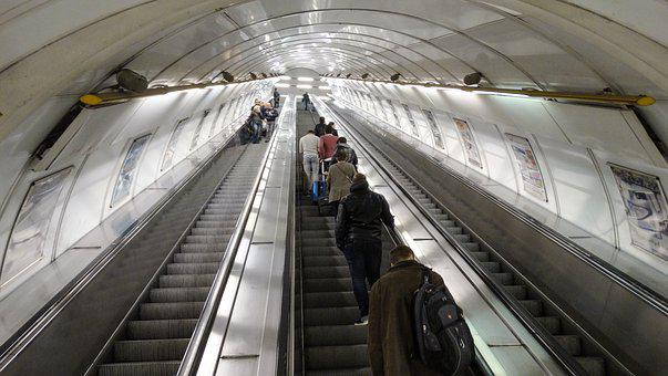 Escalator, Metro, Subway, Stairwell, Stairs, Prague