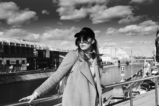 Girl, Cap, Glasses, Coat, City, Worth, River, Moscow