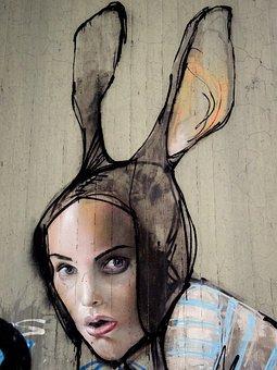 Graffiti, Hare, Woman, Face, Rabbit Ears, Eyes, Mouth