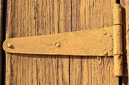 Door Hinges, Old Door, Tree, Old Paint