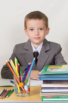 Schoolboy, At The Desk, Sitting, Books, Pencils, Bright