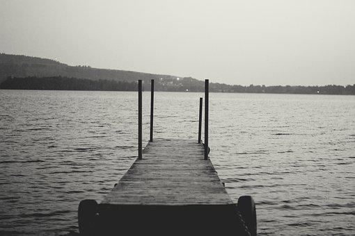 Lake, Dock, Nature, Water, Black, Pier, Landscape
