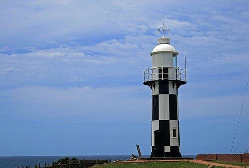 Lighthouse, Port Shepstone, Black, White, Sky, Clouds