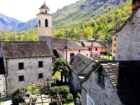 Lodano, Ticino, Steeple, Church, Tourism, Switzerland