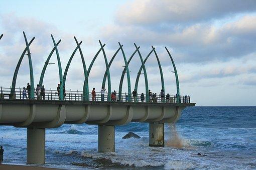 Umhlanga Rocks Pier, Pier, Structure, Sea, Pillars