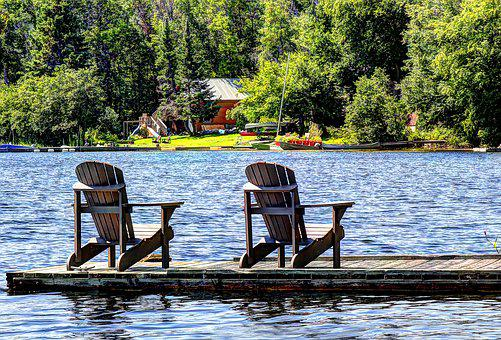 Lake, Cottage, Chairs, Water, Nature, Vacation, Cabin
