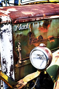 Color, Old Truck, Rusty, Weathered, Front Quarter, Hood
