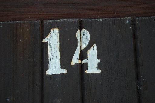 Number, Fourteen, White, Brown, Wooden Door