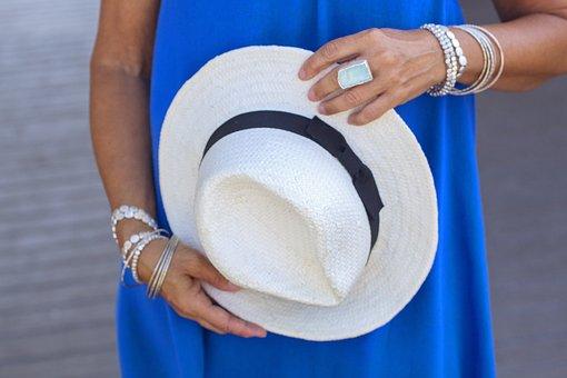 Beach, Hat, Straw Hat, Seaside, Blue, Summer, Vacation