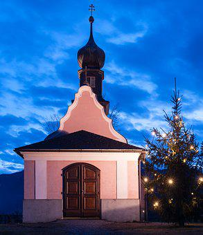 Calvary, Chapel, Christmas Tree, Blue Hour, Hollenstein