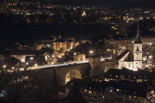Bern, Night, Old Town, Church, Rose Garden, View