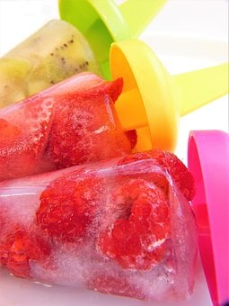 Ice, Water Frozen, Fruit, Fruits, Raspberries, Kiwi