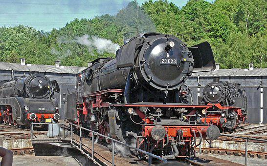 Steam Locomotive, Hub, Locomotive Shed, Railway