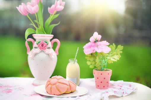 Snack, Pastry, Milk, Flowers, Pink, Spring
