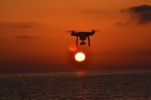 Drone, Sunset, Sea, Nature, Sky, Sun, Quadcopter, Rc